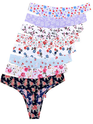 Picture of Women's 2 Pack T-back Ice Silk Pastoral Flower Print Seamless Briefs