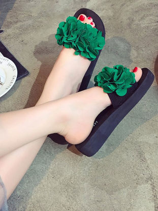 Picture of Women's Stylish Slippers Vivid Floral Pattern Open Toe Slippers