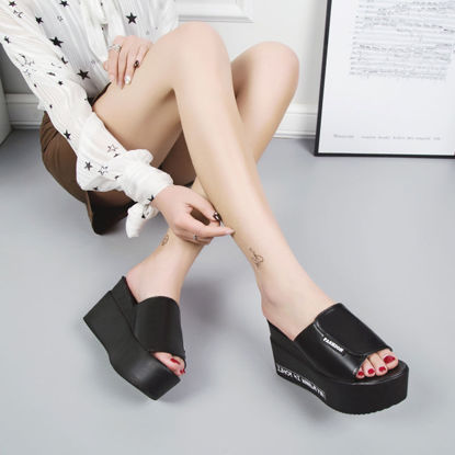 Picture of Women's Open Toe Slippers Solid Color Thick Heel Platform Leisure Shoes