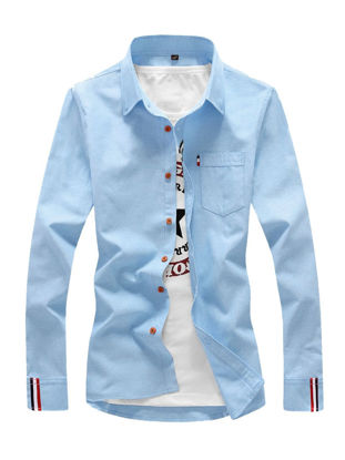 Picture of Men's Shirt Long Sleeve Cotton Blends Solid Color All Match Shirt