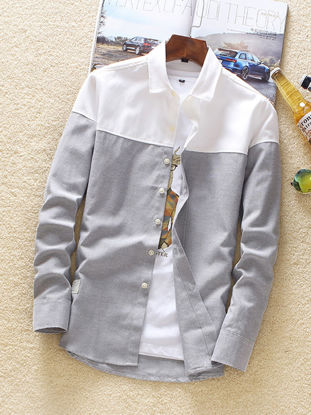 Picture of Men's Shirt Long Sleeve Patchwork Color Casual Shirt