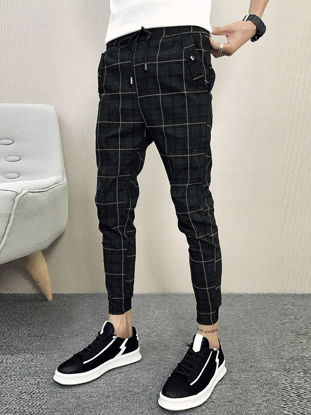 Picture of Men's Casual Pants Striped Pattern Elastic Waist Stylish Pants