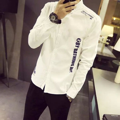 Picture of Men's Shirt Letter Print Long Sleeve Casual Top