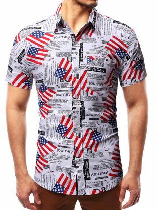Picture of Men's Shirt Short Sleeve Print Casual Top