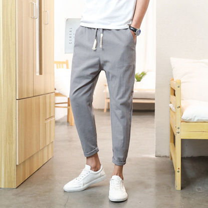 Picture of Pants men's linen nine pants loose cotton and linen thin section feet trousers men's 9 points Chinese style casual pants