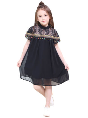 Picture of Girl's Dress Stylish Solid Color All Match Chic Dress