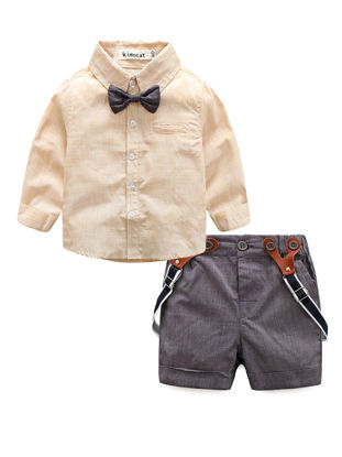 Picture of Baby Boy's Suspender Shorts Set 2 Pcs Long Sleeve Gentleman Shirt Baby Clothes