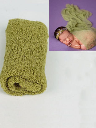 Picture of Newborn Baby Photography Prop Soft Comfy Solid Color Elastic Wrap Blanket Photo Prop
