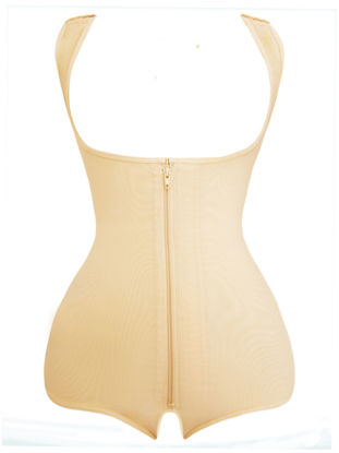 Picture of Topmelon Women's Corset Solid Backless Zipper Decor Sleeveless Lift Hip Sexy Shapewear