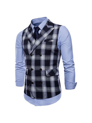Picture of Men's Plus Size Formal Vest Jacket Notched Collar Plaid Print Slim Top