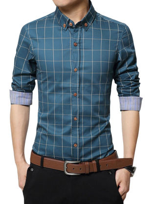 Picture of Men's Shirt Checkered Pattern Classic Fresh Style Turn Down Collar Shirt