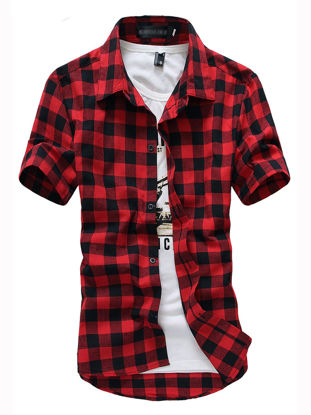 Picture of Men's Shirt Button Plaid Short Sleeve Top