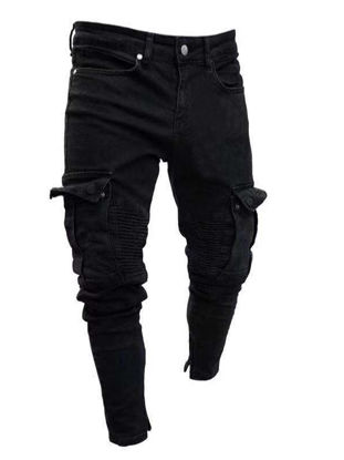 Picture of Men's Jeans Frayed Decoration Solid Color Mid Waist Jeans