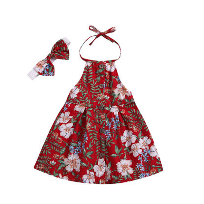 Picture of Girl's Dress Sleeveless Floral Print With Bow Hairband Backless Dress