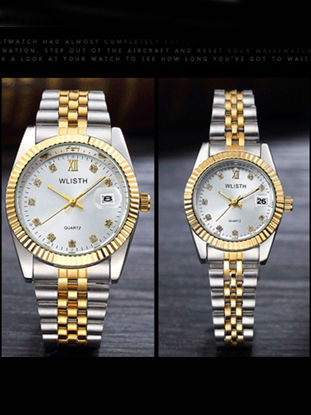 Picture of Couple's Quartz Watches Luxury Color Block Band Watches Accessories