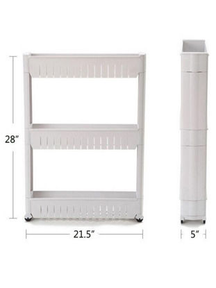 Picture of Movable Plastic Interspace Storage Rack Refrigerator Space with Roller Shelves Kitchen Bathroom Storage Shelf