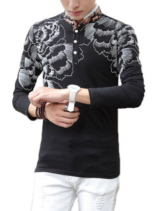 Picture of Fashion High End Sterling Floral Print Collar Solid Men's T Shirt