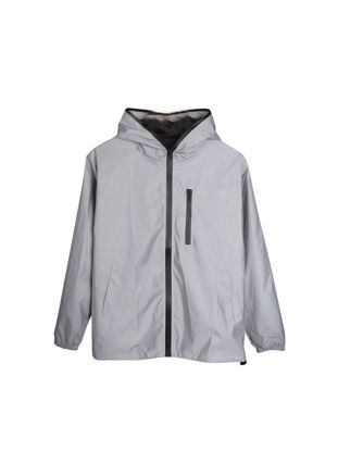 Picture of Men's Trench Coat Reflective Long Sleeve Solid Color Hooded Casual Coat