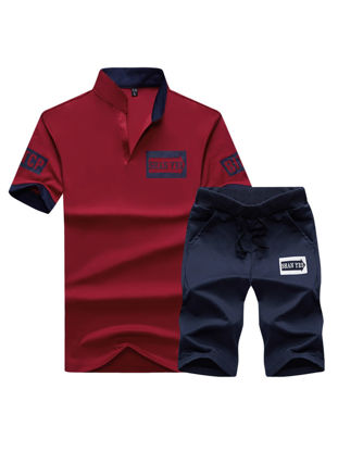 Picture of Men's 2Pcs Set Stand Collar Short Sleeve Top Drawstring Waist Shorts Plus Size Set