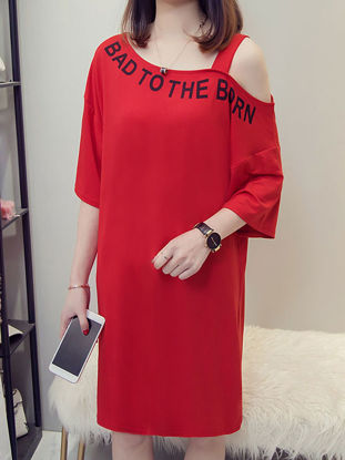 Picture of Women's T Shirt Dress Fashion Casual Loose Dress