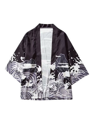 Picture of Men's Sun Proof Jacket Casual Dragon Printed Open Front Short Sleeve Outwear