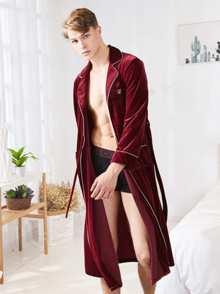 Picture of Men's Robe Solid Color Skin-Friendly Comfy Top Fashion Breathable Pajama Sleepwear