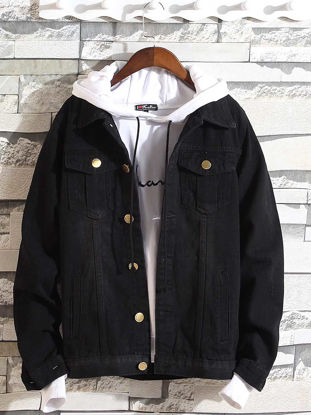 Picture of Men's Denim Jacket Turn Down Collar Long Sleeve Solid Color All Match Chic Jacket