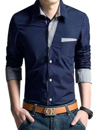 Picture of Men's Shirt Casual Breathable Long Sleeve Patchwork Cozy Shirt