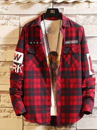 Picture of Men's Shirt Turn Down Collar Long Sleeve Print Letter Plaid Top