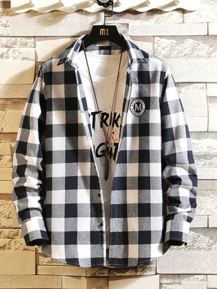 Picture of Men's Shirt Long Sleeve Turn Down Collar Casual Plaid Top