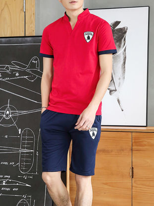 Picture of Men's Slim Shorts Set Stand Collar Short Sleeve T-Shirt Simple All Match Casual Suit