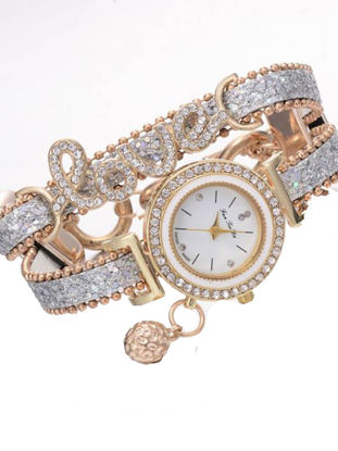 Picture of Women's Bracelet Watch Chic Rhinestone Inlay Double Layers Alloy Watch Accessory
