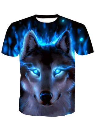 Picture of Men's T Shirt O Neck Short Sleeve Print Animal Casual Top