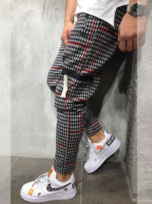 Picture of Men's Casual Pants Houndstooth Printed Full Length Drawstring Waist Slim Trousers