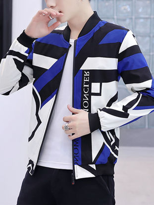 Picture of Men's Casual Jacket Striped Long Sleeve Loose Jacket