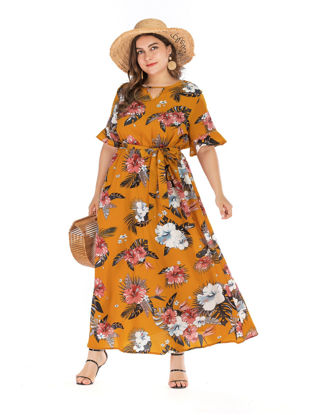 Picture of Women's Aline Dress V Neck Flare Sleeve Plus Size Floral Dress
