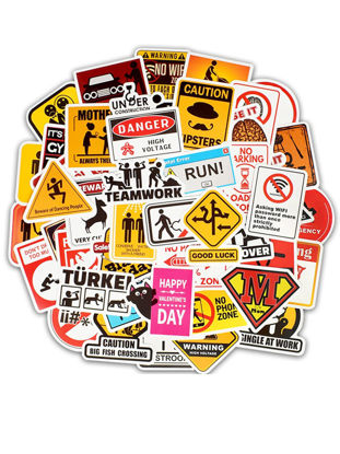 Picture of 50Pcs Sign Decal Stickers And Warning Stationery Stickers For Luggage Laptop