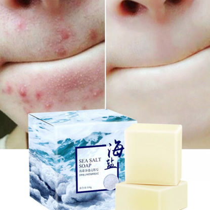 Picture of Sea Salt Cleansing Handmade Soap Blemish Removers Soap 100g