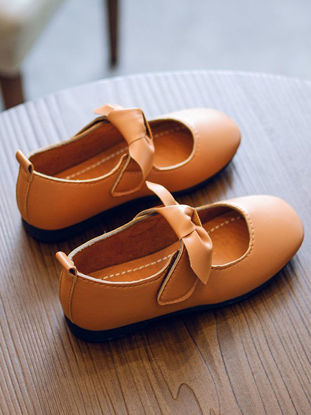 Picture of Girl's Faux Leather Shoes Solid Color Bow Shape Decoration Sweet Shoes