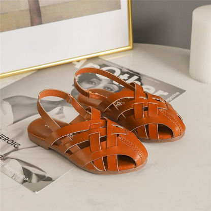 Picture of Kid's Sandals Solid Color Weaved Chic Vintage Style Shoes