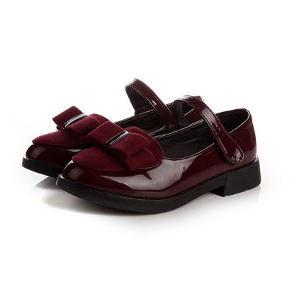 Picture of Girl's Synthetic Leather Shoes Solid Color Shoes
