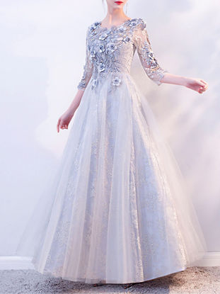 Picture of Women's Full Dress O Neck Fashion Lace Embroidery Dress