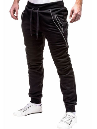 Picture of Men's Active Pants Drawstring Waist Simple Zip Decoration Mens Clothing