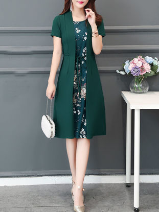 Picture of Women's Plus Size Dress Short Sleeve O Neck Floral Patchwork Aline Dress With Sash