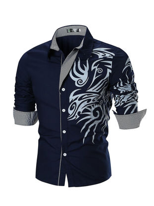 Picture of Men's Shirt Turn Down Collar Vintage Print Slim Fashion Top