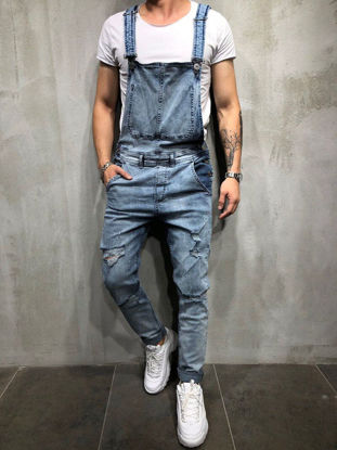 Picture of Men's Suspender Jeans Solid Color Frayed Design Stylish Casual Jeans