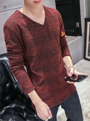 Picture of Men's T Shirt V Neck Long Sleeve Solid Color Top