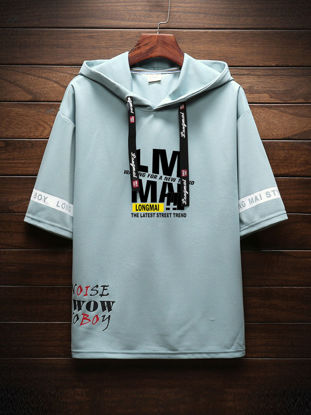 Picture of Men's T Shirt Letter Printed Half Sleeve Hooded Casual Top