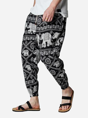 Picture of Men's Casual Pants Ankle-Tied Drawstring Printed Loose Trousers