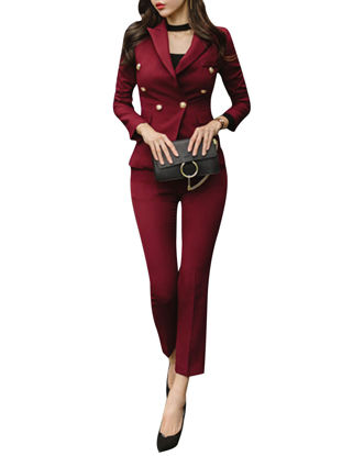 Picture of Women's 2Pcs Pants Set Fashion Solid Color Cropped Pants Button Blazer Set